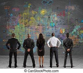 handel team, tekening, een, nieuw, plan