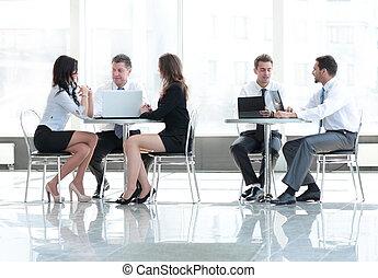 handel team, vergadering, in, kantoor., concept, van, communication.