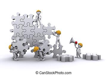 handel team, werken, gebouw, een, puzzle., buuilding,...
