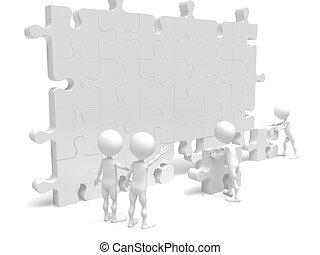 handel team, werken, gebouw, een, raadsel