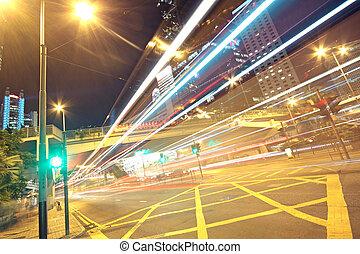 handel, w, finanse, miejski, w nocy