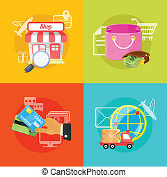 handel, wektor, e, ilustracja