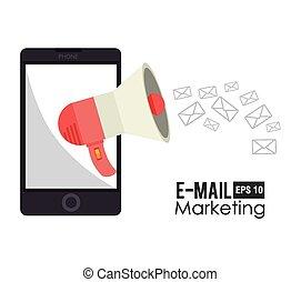 handel, wektor, projektować, illustration., email