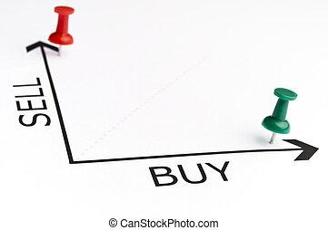 handel, wykres, z, zielony, szpilka