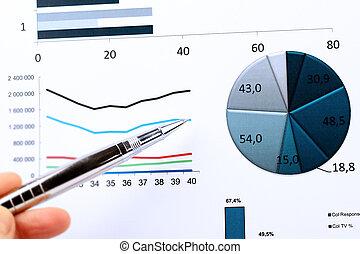 handel, wykresy, barwny, wykresy