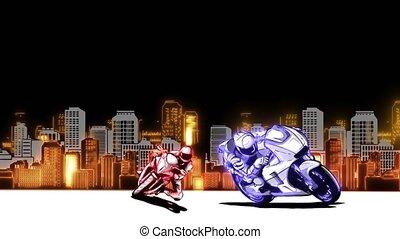 handel, za, koło, dżem, video noc, motocykl, miasto