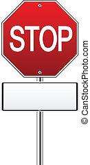 handel, zatrzymywać, czerwony, znak