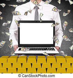 handelaar, draagbare computer, scherm, vasthouden, leeg