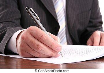 handelaar geschrift, op, een, officieel formulier, gebruik, pen