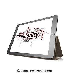 handelsartikel, woord, wolk, op, tablet