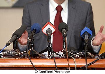 handelsconferentie, microfoons