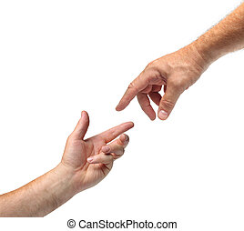 handen, anderen, twee, reiken, elke
