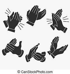 handen, applaudiseren, handgeklap