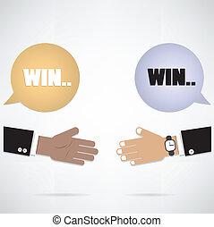 handen, bel, win-win, toespraak, concept