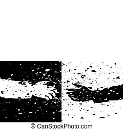 handen, black , illustratie, grungy, vector, witte