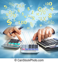 handen, calculator., zakenlui
