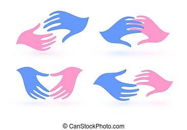 handen, charities, huwelijk, mal, familie liefde, steun, palmen, unie, logo, agentschap, symbols., psychologie, set, icons., verenigingen, vector, twee, care