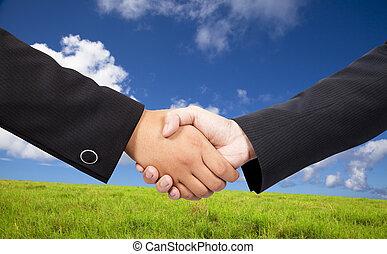 handen, close-up, mensen, tegen, bedrijfsblauw, hemel, achtergrond, groene, rillend