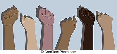 handen, dichtgeklemde vuisten, menselijk