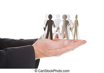 handen, eenheid, papier, het vertegenwoordigen, mensen