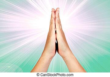 handen, gebed, clasped