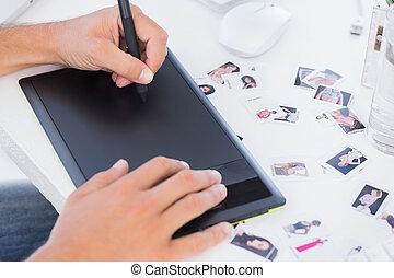 handen, grafiek, mannelijke , gebruik, tablet