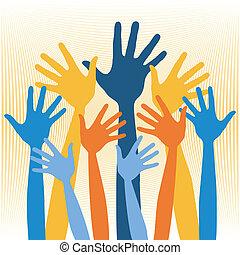 handen, groep, illustration., blij