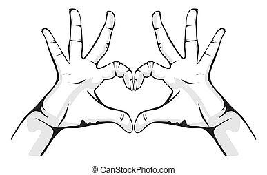 handen, hart, het tonen