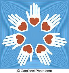 handen, hearts., cirkel