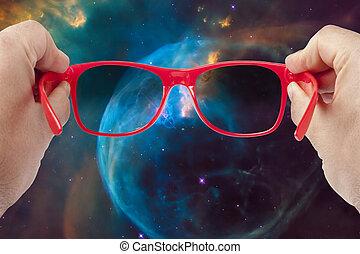 handen, heelal, concept, zonnebrillen, mannelijke , exploratie, het kijken, vasthouden
