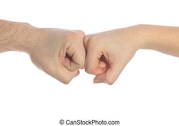handen, het botsen, samen, twee