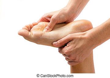 handen, het masseren van voet, isolated.