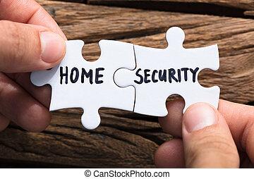 handen, het verbinden, huis veiligheid, jigsaw stukken