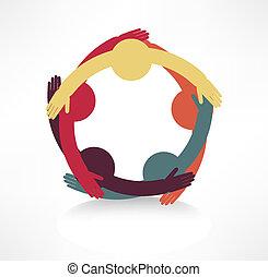 handen, het verbinden, pictogram