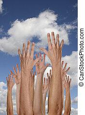 handen, in, de, luchten