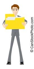 handen, karakter, bestand, zijn, man, vasthoudende folder, 3d
