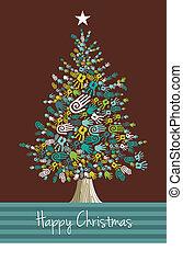 handen, kerstmis, verscheidenheid, boompje