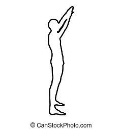 handen kleur, armen, verheffing, black , illustratie, aanzicht, schets, man, bovenkant, pictogram, verheven, sportsman
