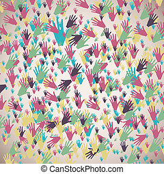 handen kleur, velen