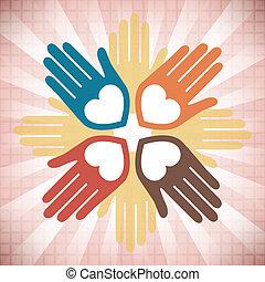handen, kleurrijke, verenigd, ontwerp, hartelijk