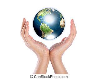 handen, met, aarde, (elements, van, dit, beeld, gemeubileerd, door, nasa)