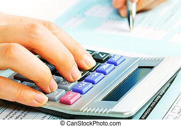handen, met, calculator.