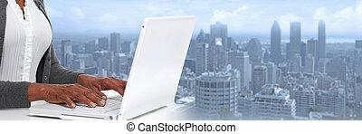 handen, met, draagbare computer, .