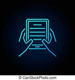handen, met, e-boeken, lezer, blauwe , pictogram