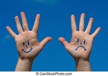 handen, met, glimlachen, en, droefheid, model