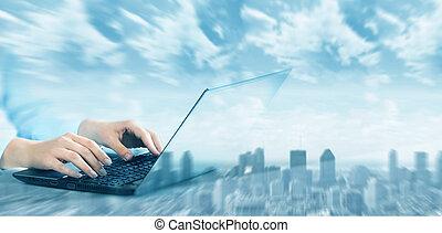 handen, met, laptop computer, keyboard.