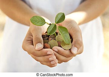 handen, met, muntjes, besparing, concept