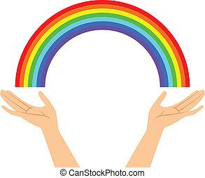 handen, met, regenboog