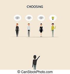 handen, of, baas, &, zakelijk, kies, compliment, illustratie, concept., businesspeople, prestatie, acknowledgement, vector, spotprent, character., succes, het selecteren