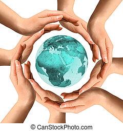 handen, omliggend, de aarde